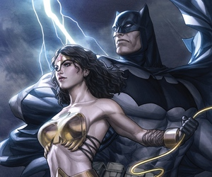 batman, wonder woman, and bruce wayne image