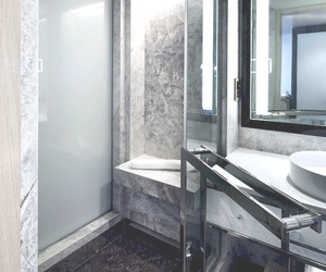 bathroom, interiors, and marble image
