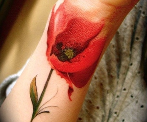 tattoo, flowers, and poppy image