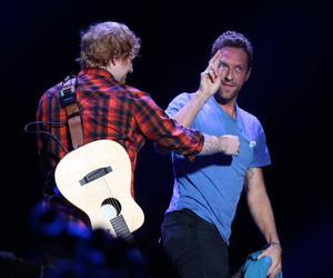 Chris Martin, ed sheeran, and coldplay image
