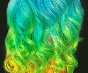 hair, hairstyles, and rainbow image