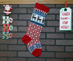 christmas stocking, fair isle, and christmas decor image
