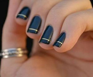 elegant, future prom, and black and golden nails image