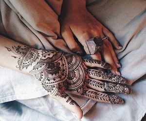 girl, hands, and henna image
