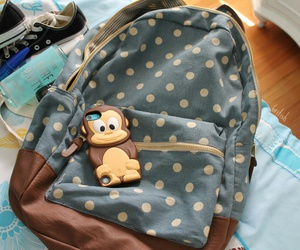 backpack, bag, and monkey image