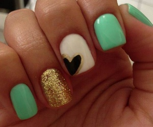 nails, gold, and heart image