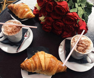 rose, coffee, and breakfast image
