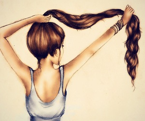 brown, drawings, and hair image