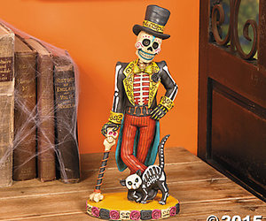 vintage skeleton, halloween statue, and dressed for occasion image