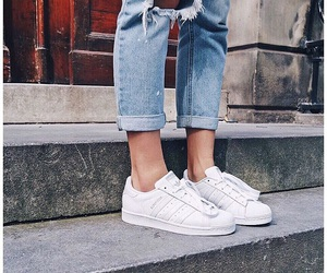 jeans, adidas, and shoes image