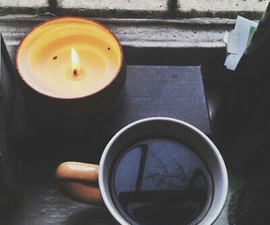 coffee, candle, and rain image