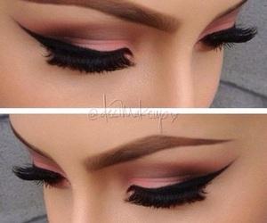 make up, pink, and eyes image