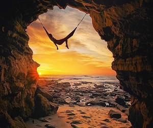 sunset, hammock, and beach image