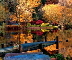 autumn, boat, and calm image