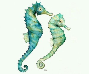 watercolor and seahorses image