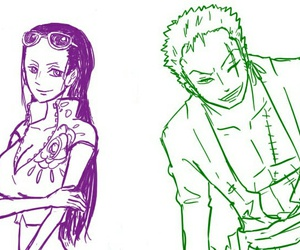 one piece, robin, and zoro and robin image