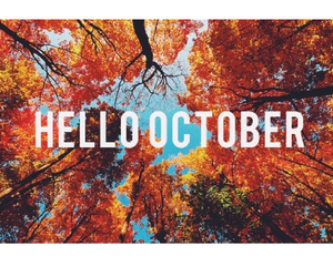 october, hello, and leaves image