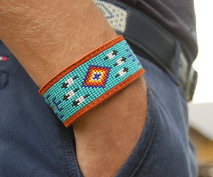 blue, leather bracelet, and native american image