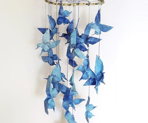 dreamcatcher, blue butterfly, and nursery mobile image