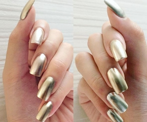 chic, golden, and nails image