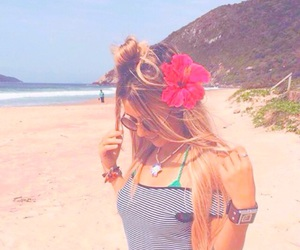 beach, bright, and flower image