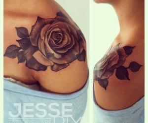 tattoo, rose, and shoulder image
