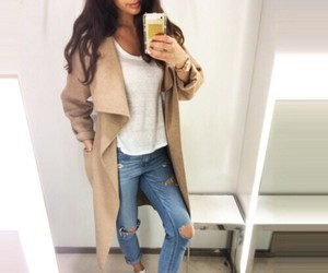 white t-shirt, camel coat, and fall outfits image