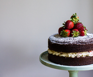 cake, strawberry, and yummy image