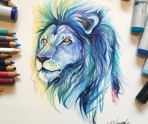 art, lion, and color image