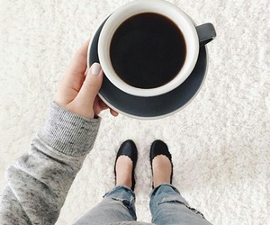 coffee, outfit, and fall image