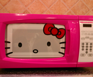 hello kitty, pink, and Microwave image