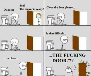 funny, door, and mom image