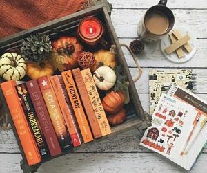 autumn, books, and coffe image