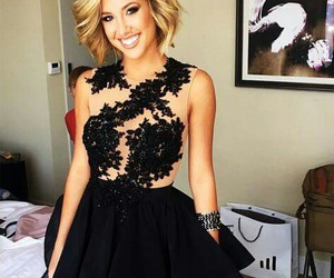 blonde, dress, and haircut image