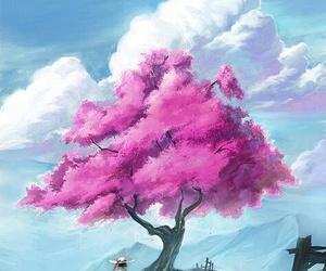 art, anime, and tree image