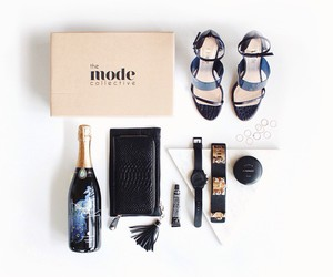 fashion, black, and champagne image