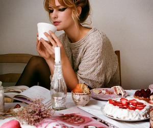girl, cake, and tea image