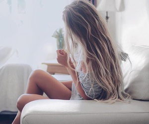 blonde, girl, and girly image
