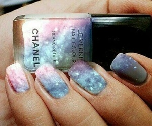 nails, chanel, and galaxy image