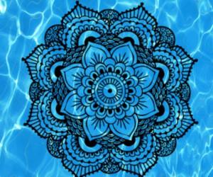 black, blue, and mandala image