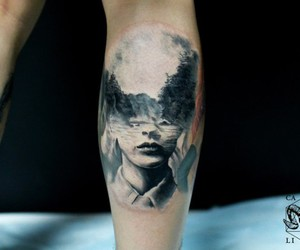 double exposure, tattoo, and b&w image