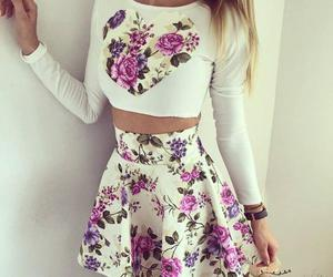 flowers, outfit, and skirt image
