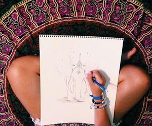 art, boho, and elephant image