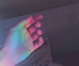 rainbow, grunge, and hand image