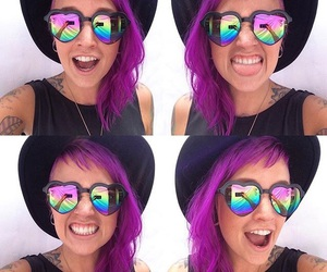 dyed hair, hat, and purple hair image