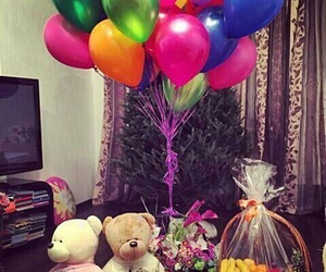 balloons, bear, and surprise image