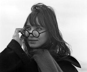 anna karina, black and white, and glasses image