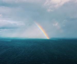 rainbow, sea, and sky image