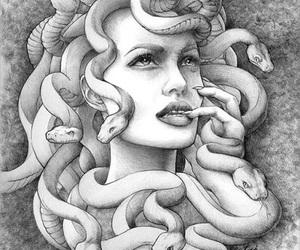 greek, medusa, and snakes image