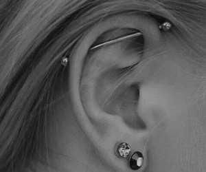 ear, black and white, and industrial image